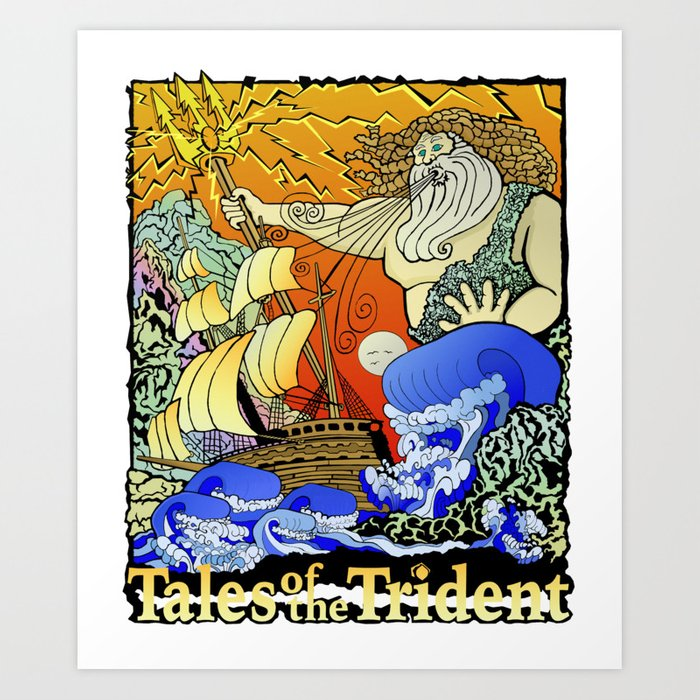 Tales of the Trident:Poseidon with Title Art Print