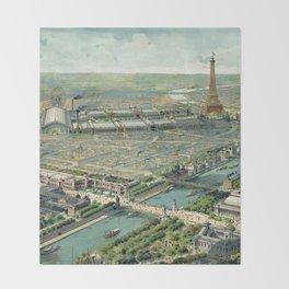 Vintage Pictorial Map of Paris (1900) Throw Blanket