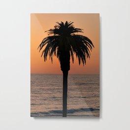 Glowing Palm Tree Sunset Metal Print