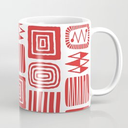 Retro Mid Century Modern Check Pattern 240 Red Coffee Mug