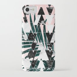 Modern geometric triangles black white abstract marble pattern palm tree leaf pink ombre iPhone Case