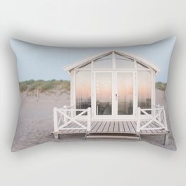 Beach house with reflecting sunset | The Hague, Netherlands | Pastel colors wall art print photography Rectangular Pillow