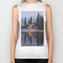 Cabin in Winter Woods (Color) Biker Tank