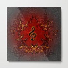 Music, decorative clef Metal Print