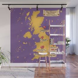 Map Of the Most Haunted Locations of the United Kingdom. Wall Mural