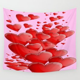 RED CANDY VALENTINE HEARTS IN PINK ART Wall Tapestry