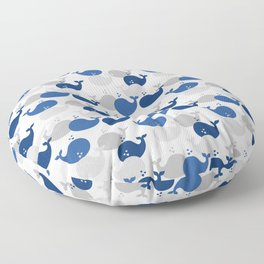 Nautical Whale Navy Blue Gray Floor Pillow