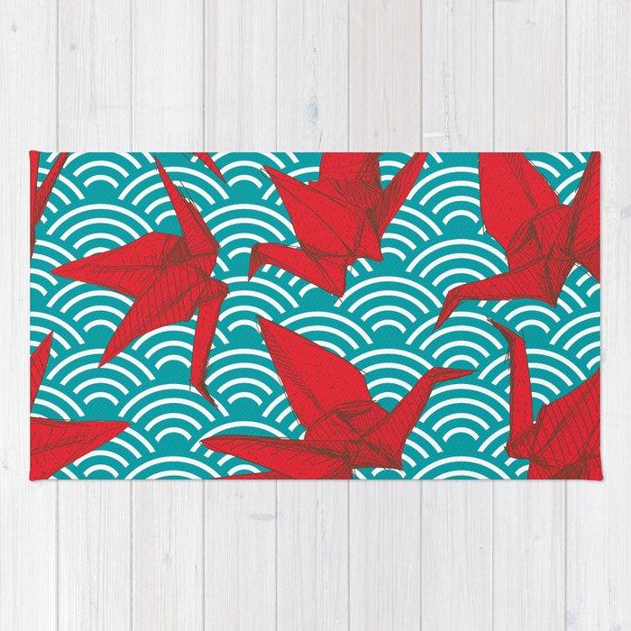 Origami Red Paper Cranes Sketch Burgundy Maroon Line Nature Oriental Rug
