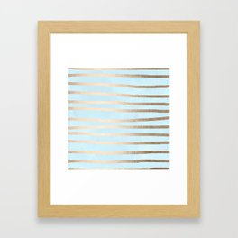 Abstract Drawn Stripes Gold Tropical Ocean Sea Turquoise Framed Art Print