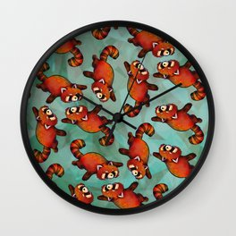 Sleeping Red Panda Wall Clock
