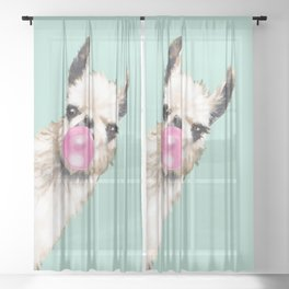 Bubble Gum Sneaky Llama in Green Sheer Curtain