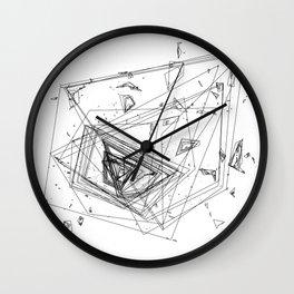 Mountain Vertices, Mt. Rainier, Black Geometric Wall Clock