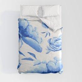Blue peony 2 Comforters