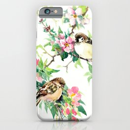 Sparrows and Apple Blossom, spring floral bird art iPhone Case