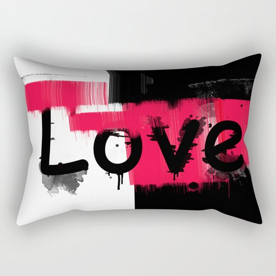 Black and red white pattern Love . Rectangular Pillow