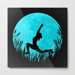 Yoga Moon Posture - Turquoise Metal Print