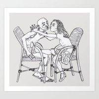 couple Art Prints featuring couple by Madmi