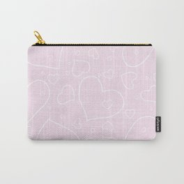 Palest Pink and White Hand Drawn Hearts Pattern Carry-All Pouch