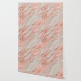 Marble Rose Gold White Marble Foil Shimmer Wallpaper