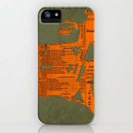 Orange and green abstract motorcycle, man cave decoration, gift for him iPhone Case