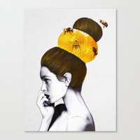 bee Canvas Prints featuring The Bee Hive  by Jenny Liz Rome