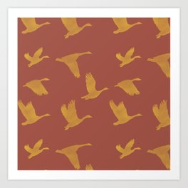 Flying Birds Pattern | Red and Yellow Mood Art Print