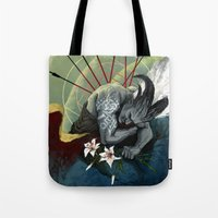 "dragon age Tote Bags featuring Dragon Age - Qunari - Betrayal by Barbara ""Yuhime"" Wyrowińska"
