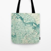vintage map Tote Bags featuring Amsterdam Map Blue Vintage by City Art Posters