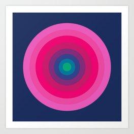 Blue & Pink Retro Bullseye Art Print