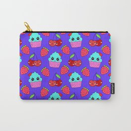 Cute funny sweet adorable happy little blue baby cupcakes, little cherries and red ripe summer strawberries cartoon fantasy purple pattern design Carry-All Pouch