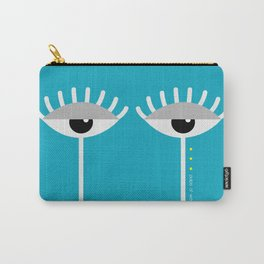 Unamused Eyes | White on Blue Carry-All Pouch