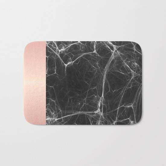 Black Marble and Pink  Bath Mat
