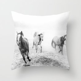 Running with the horses Throw Pillow