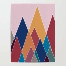 Colourful geomatric mountains Poster
