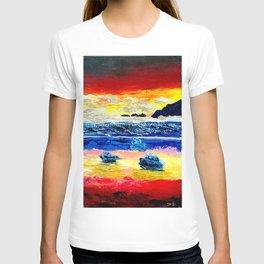 Twilight glow above dark mountains, Crimson Sea sunset around  small islets  of sirens T-shirt