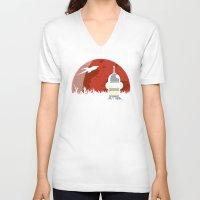 drunk V-neck T-shirts featuring Drunk Robot by Moysche Designs