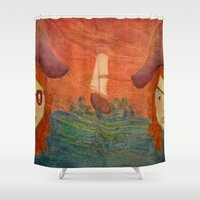 pirates Shower Curtains featuring Pirates  by CataBeja Umaña Azul