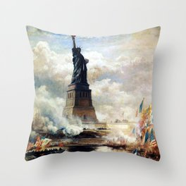 Statue of Liberty Unveiled by Edward Moran Throw Pillow