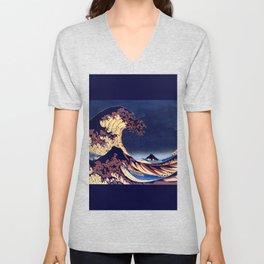The Great Wave Off Kanagawa Inverted Katsushika Hokusai Unisex V-Neck
