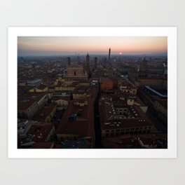 Bologna sunrise city aerial drone italy Art Print