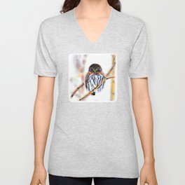 Winter Owl Watercolor Unisex V-Neck