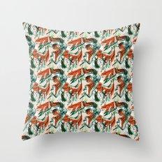 fox hunting rabbits  Throw Pillow