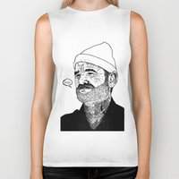 zissou Biker Tanks featuring Team Zissou by John C Thurbin