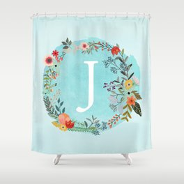 Personalized Monogram Initial Letter J Blue Watercolor Flower Wreath Artwork Shower Curtain