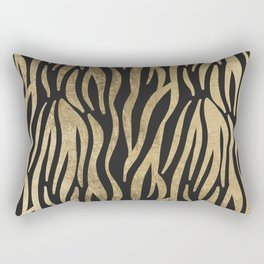 Modern elegant black faux gold trendy zebra animal print Rectangular Pillow
