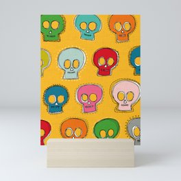 sew skully yellow Mini Art Print