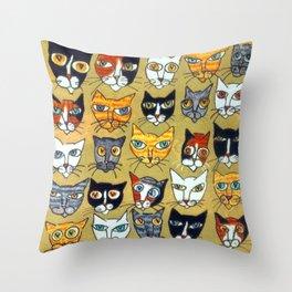 25 Cat Heads Throw Pillow