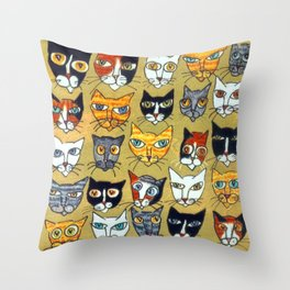 25 Cat Heads Throw Pillow