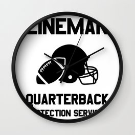 Football Lineman Quote Player Funny Protection Gridiron Game  Wall Clock
