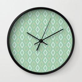 Mid-Century Diamonds Mint-White-Peach Wall Clock